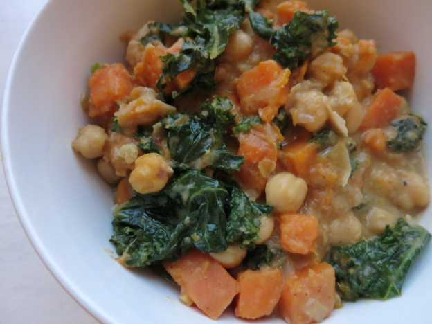 Moroccan Spiced Sweet Potato, Kale and Chickpea Stew