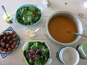 carrot soup and salad